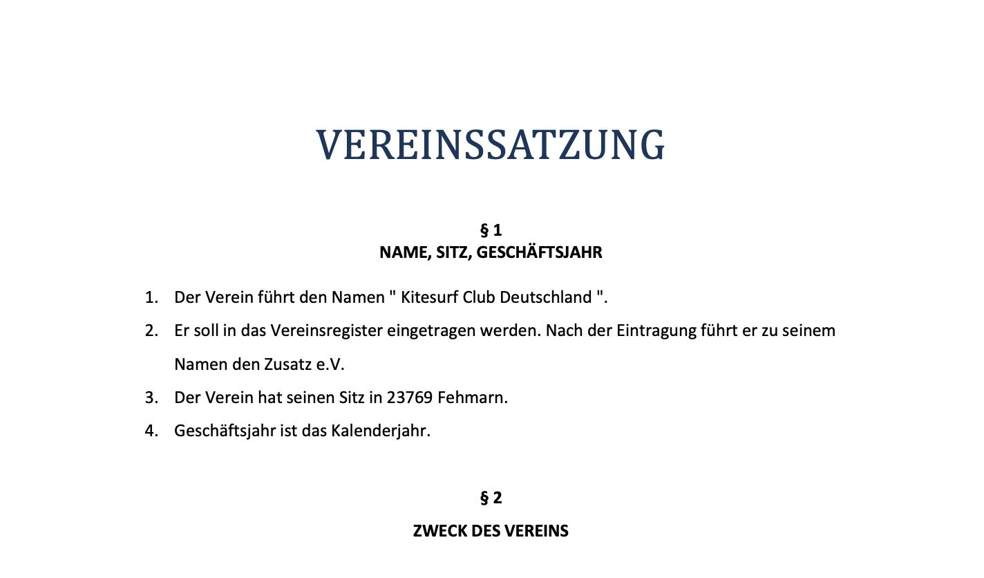 Vereinssatzung des Kitesurf Club Deutschland