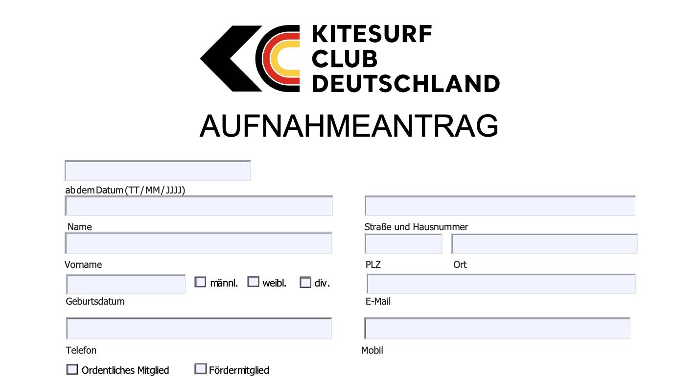 Aufnahmeantrag vom Kitesurf Club Deutschland