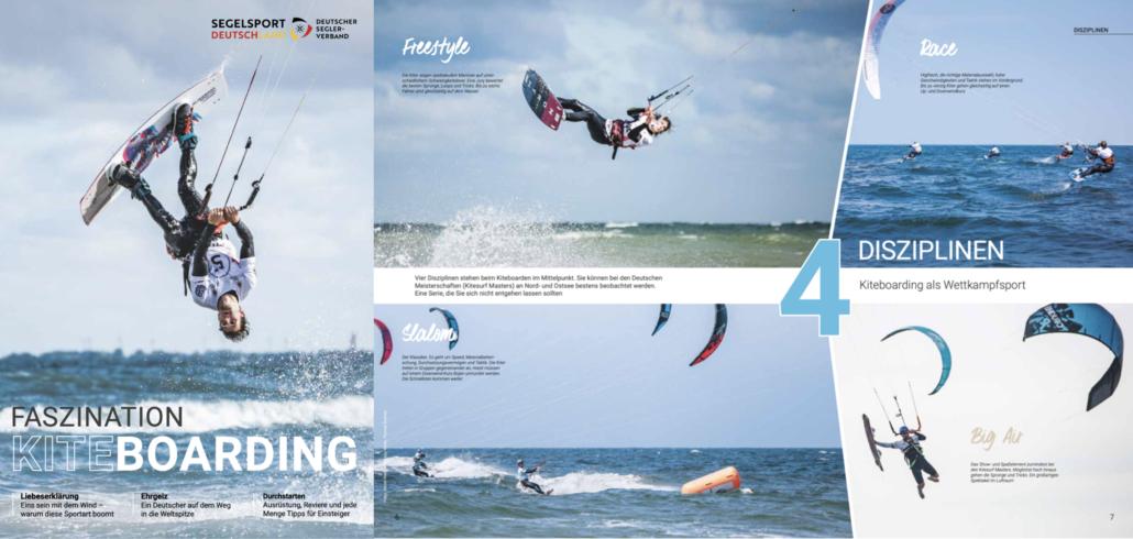 Max Petrat Cover DSV Faszination Kitesurfen Kiteboarding Kitesurfen vier Disziplinen Racing Freestyle Big Air Slalom